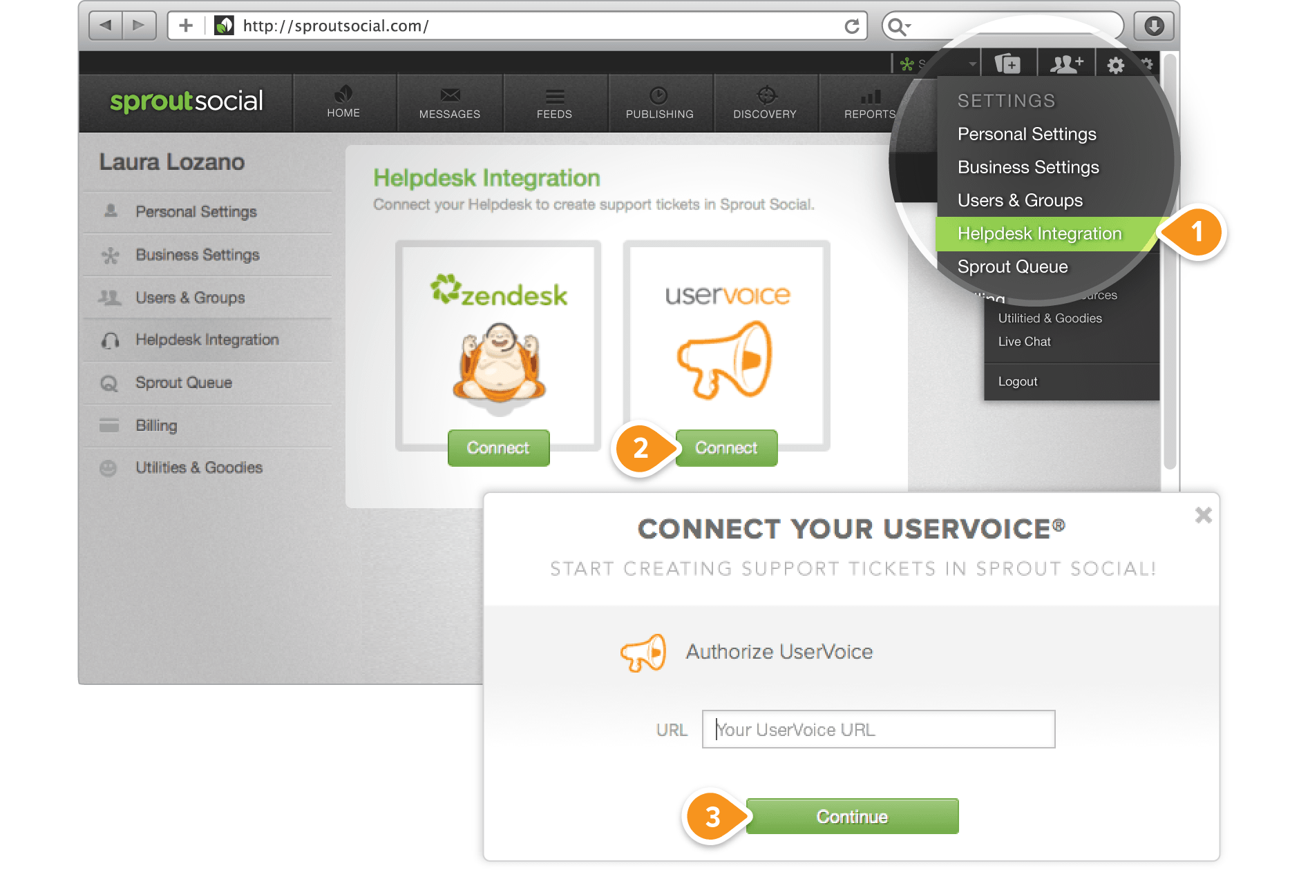 How to integrate your UserVoice® account into Sprout